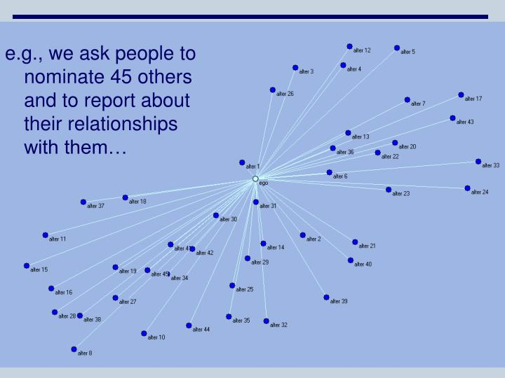 e.g., we ask people to nominate 45 others and to report about their relationships with them…