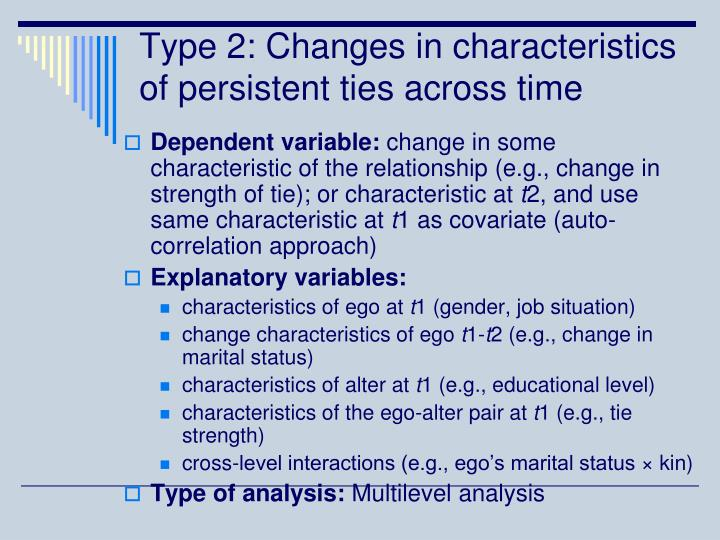 Type 2: Changes in characteristics of persistent ties across time