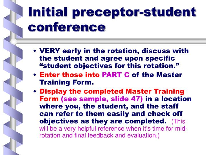 Initial preceptor-student conference