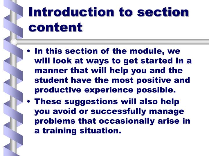 Introduction to section content
