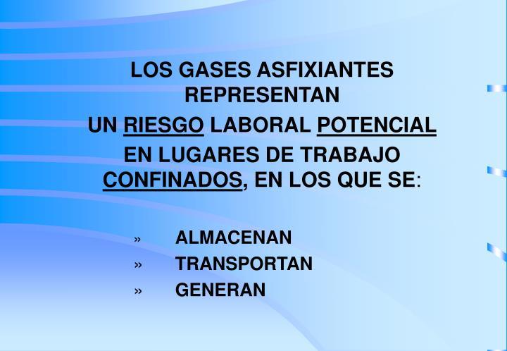 LOS GASES ASFIXIANTES REPRESENTAN