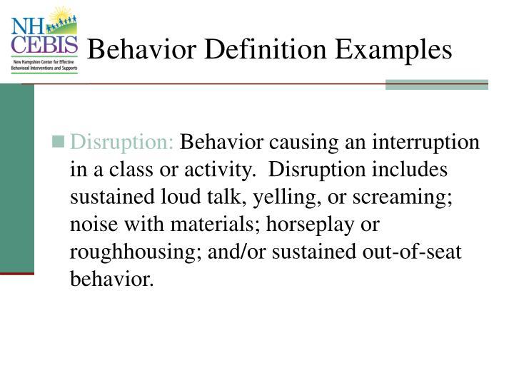 Behavior Definition Examples