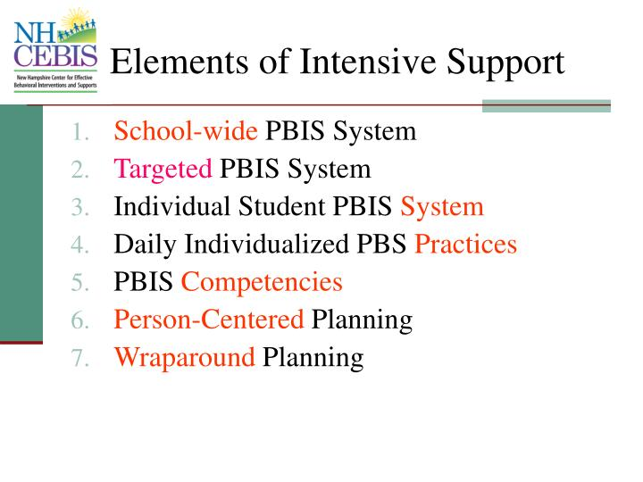 Elements of Intensive Support