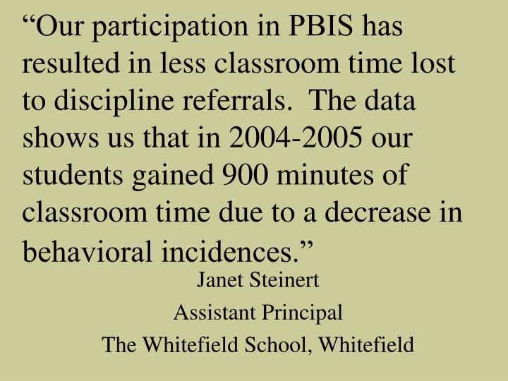 """Our participation in PBIS has resulted in less classroom time lost to discipline referrals.  The data shows us that in 2004-2005 our students gained 900 minutes of classroom time due to a decrease in behavioral incidences."""