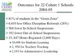 outcomes for 22 cohort 1 schools 2004 05