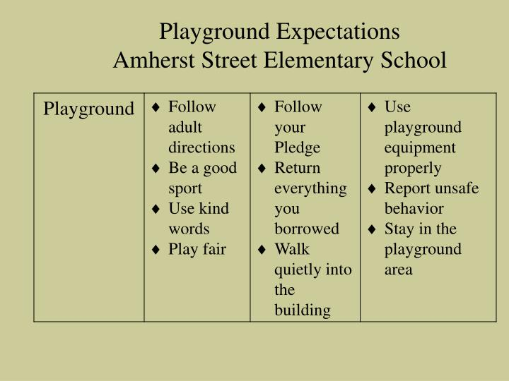 Playground Expectations