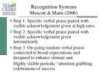 recognition systems muscott mann 2006