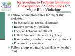 responding to problem behavior consequences or corrections for major rule violations
