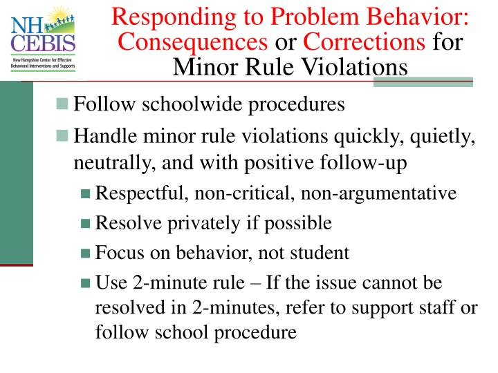 Responding to Problem Behavior: Consequences