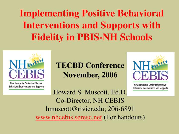 Implementing Positive Behavioral Interventions and Supports with
