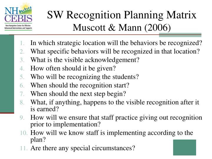 SW Recognition Planning Matrix