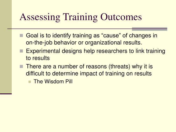 Assessing Training Outcomes