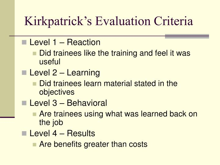 Kirkpatrick's Evaluation Criteria
