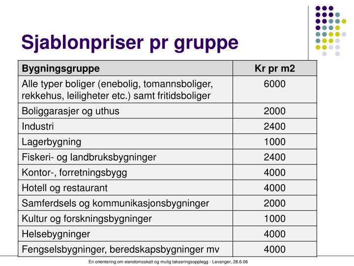 Sjablonpriser pr gruppe