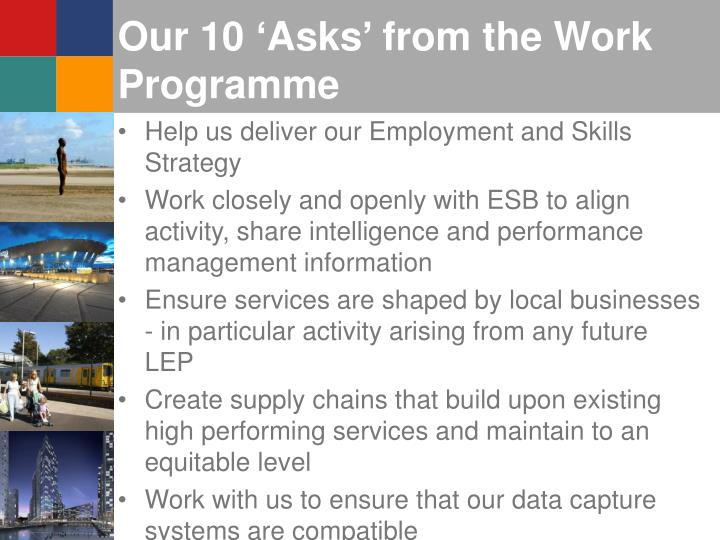 Our 10 'Asks' from the Work Programme
