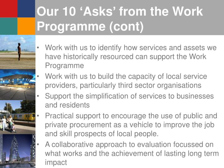 Our 10 'Asks' from the Work Programme (cont)