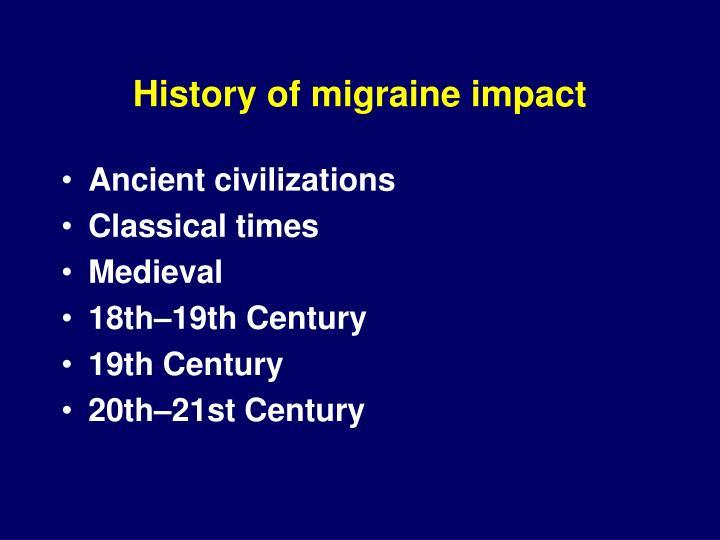 History of migraine impact