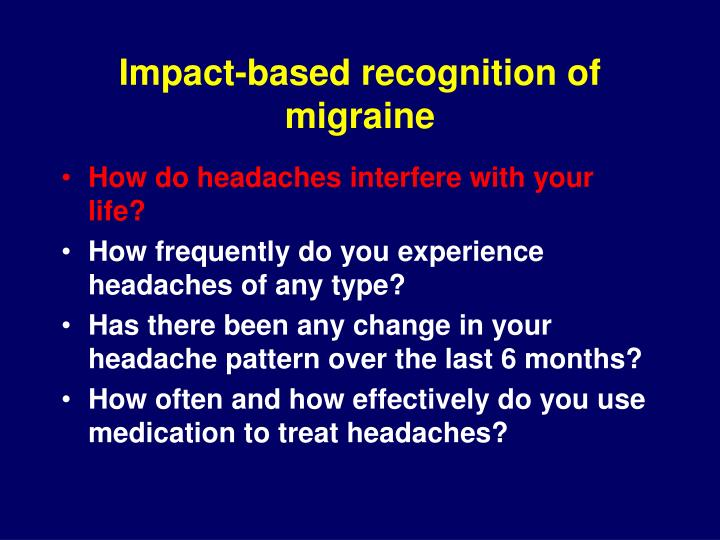 Impact-based recognition of migraine
