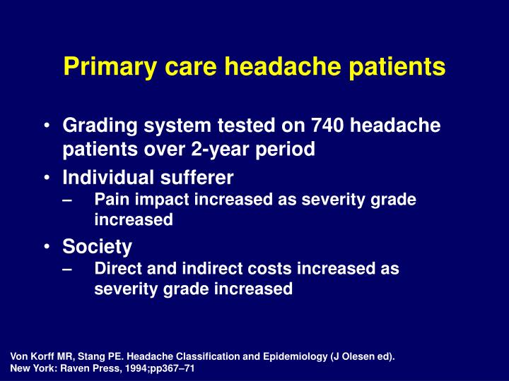 Primary care headache patients