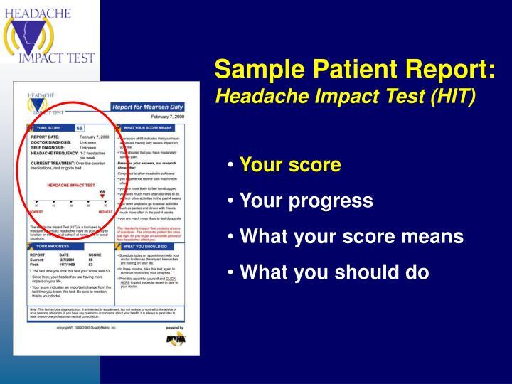 Sample Patient Report: