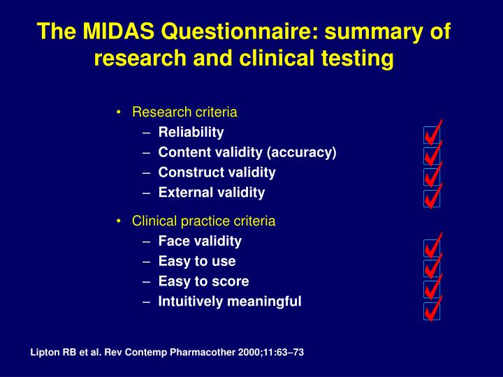 The MIDAS Questionnaire: summary of research and clinical testing