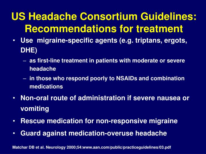 US Headache Consortium Guidelines: Recommendations for treatment