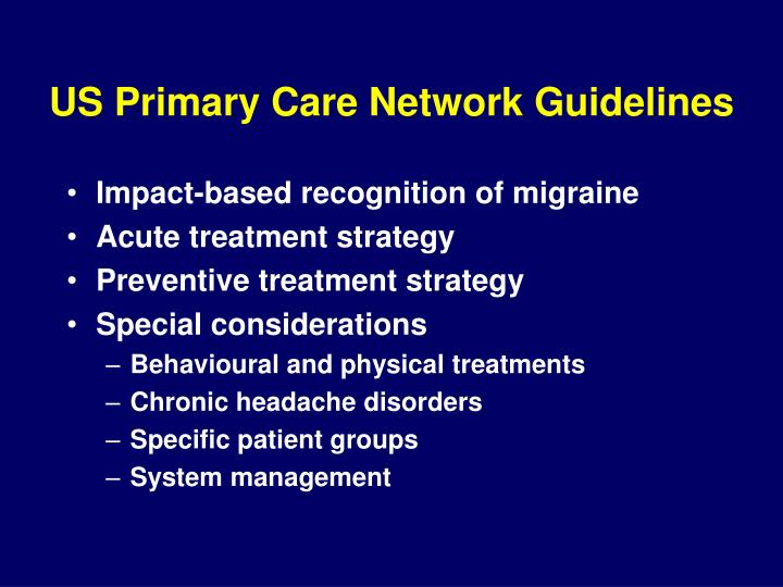 US Primary Care Network Guidelines