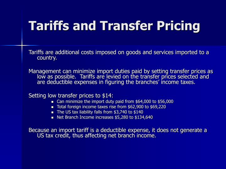 Tariffs and Transfer Pricing