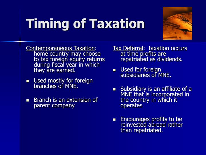 Contemporaneous Taxation