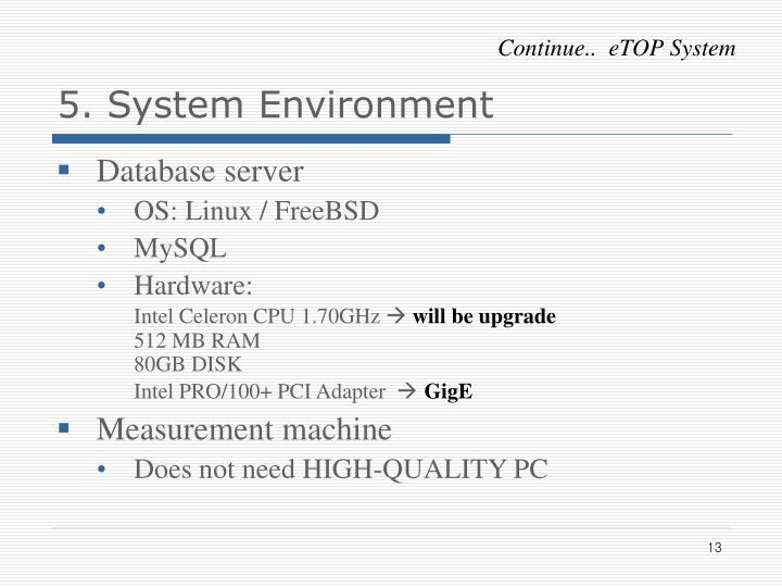 5. System Environment