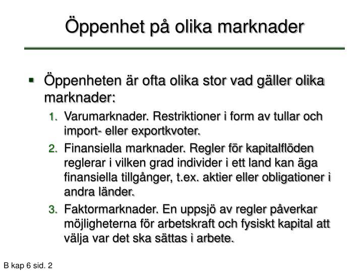 Öppenhet på olika marknader