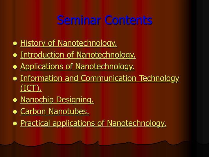Seminar Contents