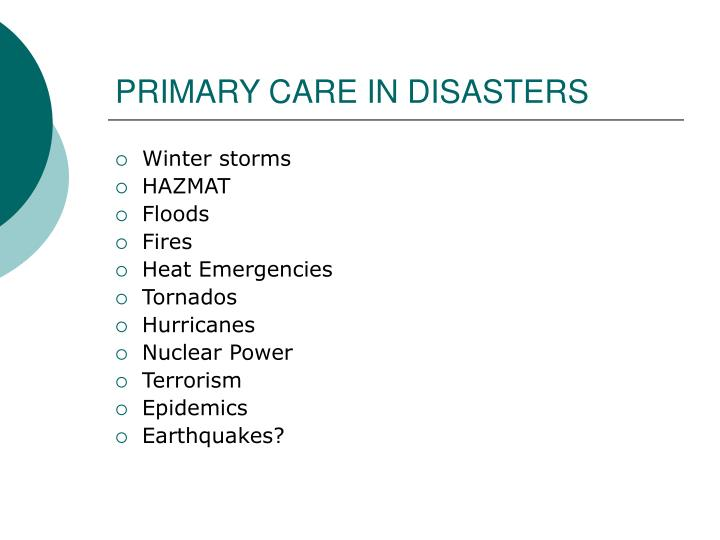 Primary care in disasters