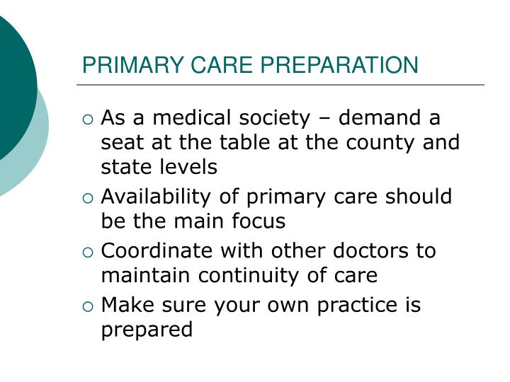 PRIMARY CARE PREPARATION
