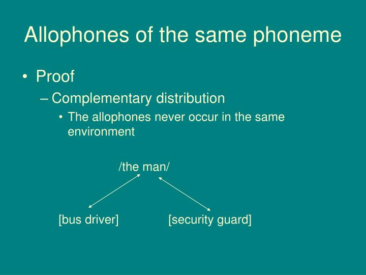 Allophones of the same phoneme