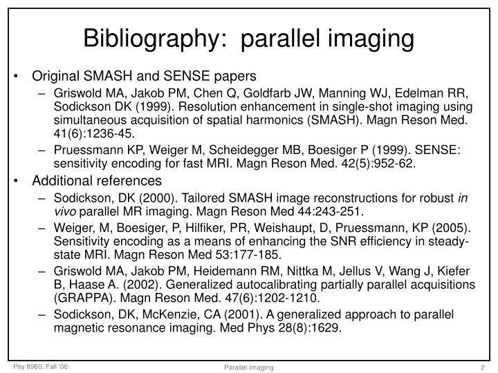 Bibliography parallel imaging