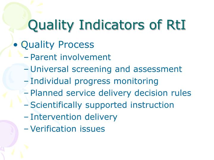 Quality Indicators of RtI