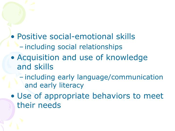 Positive social-emotional skills