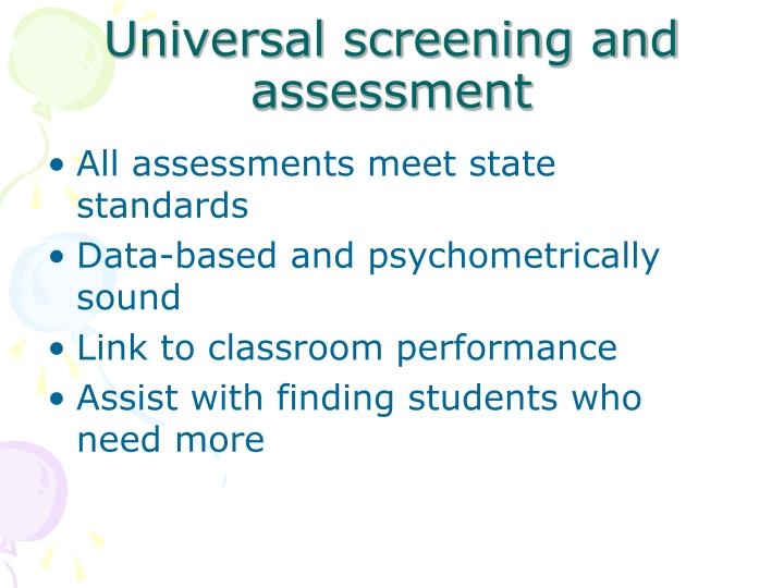 Universal screening and assessment