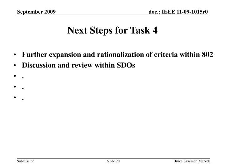 Next Steps for Task 4