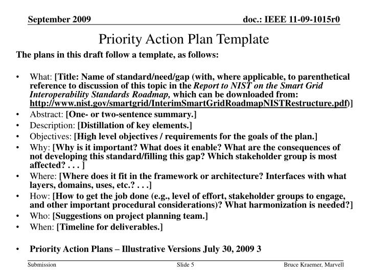 Priority Action Plan Template