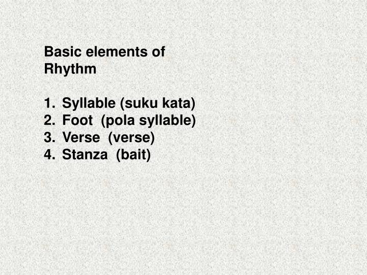 Basic elements of Rhythm