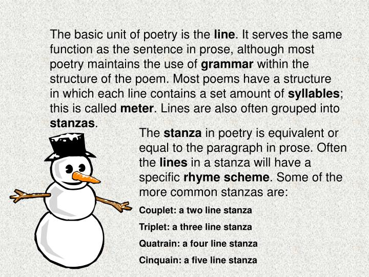 The basic unit of poetry is the