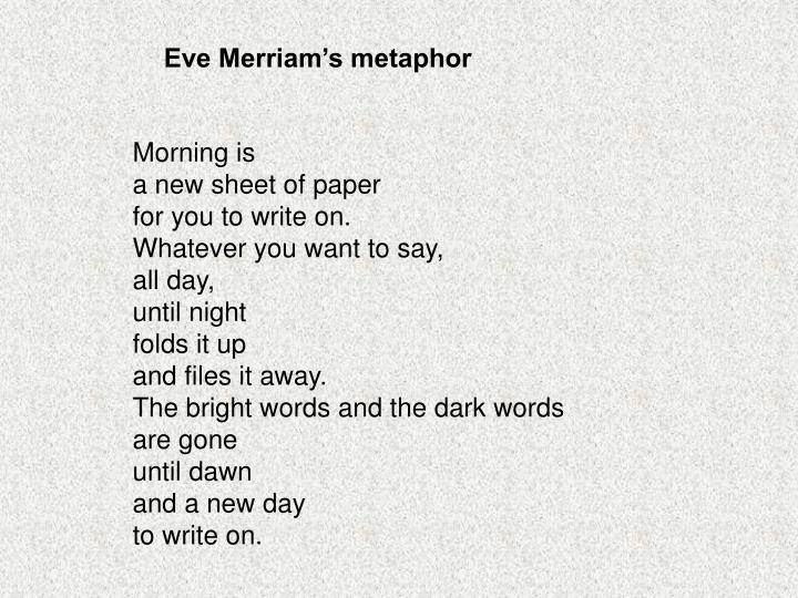 Eve Merriam's metaphor
