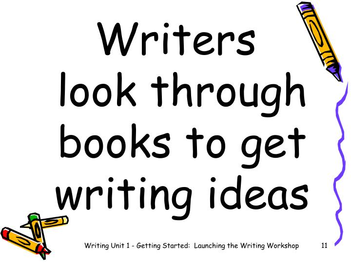 Writers        look through books to get writing ideas