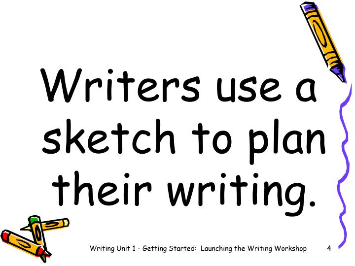 Writers use a sketch to plan their writing.