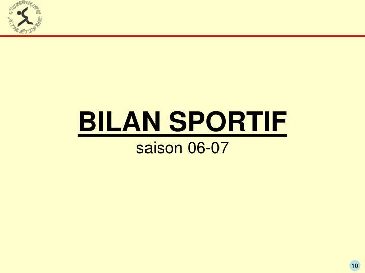 BILAN SPORTIF