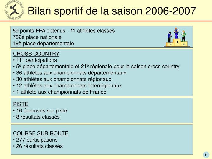 Bilan sportif de la saison 2006-2007