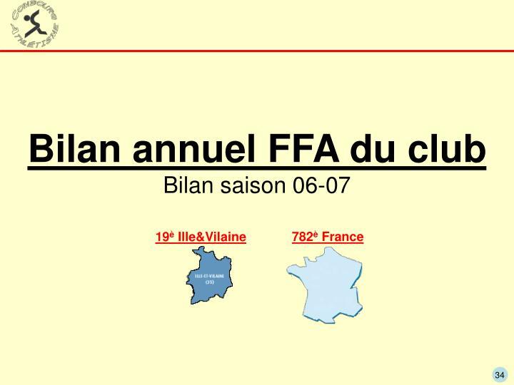 Bilan annuel FFA du club