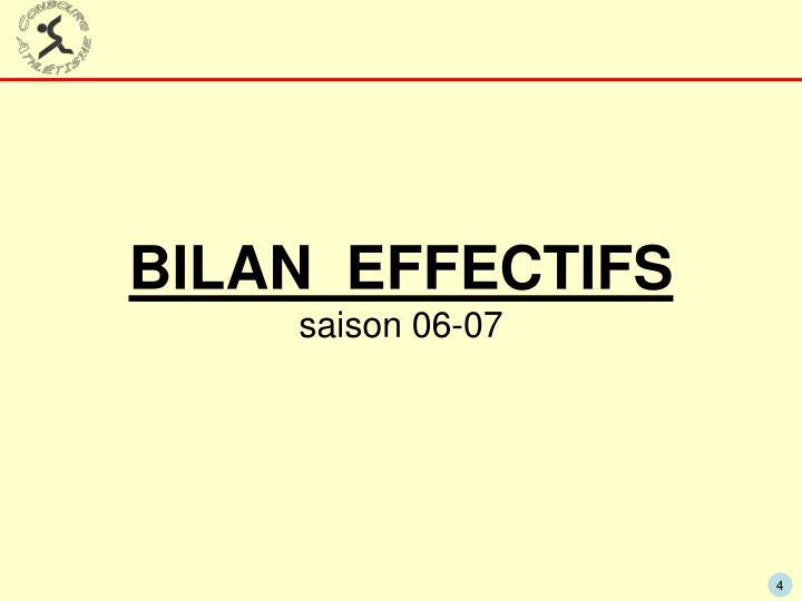 BILAN  EFFECTIFS
